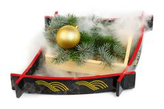 Christmas decoration with mist made by  frozen carbon dioxide Stock Photos