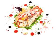 lobster salad in japanese style with chuka seaweed and tobico - stock photo