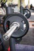 Barbell ready for workout, indoors - stock photo