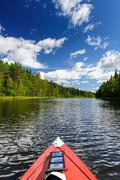 kayaking in the river in karelia, at the north of russia - stock photo