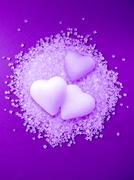 Crystals of sugar, love concept Stock Photos