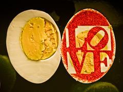 Sliced boiled hen's white eggs Stock Illustration