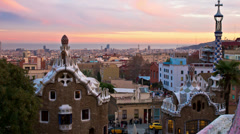 Barcelona skyline parc guell view 4k Stock Footage