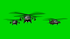 Black Hawk Helicopter fly in Formation - seperated on green screen Stock Footage