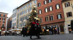 Two Italian soldiers walk past Christmas tree Stock Footage