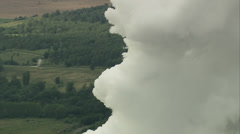 Power station chimneys and smoke Stock Footage