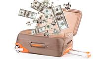 Stock Illustration of money in suitcase isolated on white