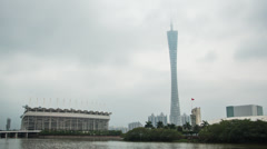 Sunset time lapse of the Canton Tower and Haixinsha Island in Guangzhou, China Stock Footage