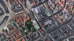 Top down over The Walking Street in Copenhagen - stock footage