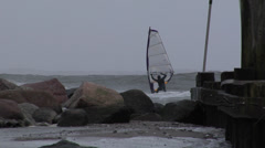 Windsurfer on Baltic Sea in Winter Stock Footage