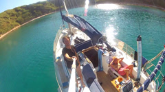 Man filming panorama on sailing boat Stock Footage