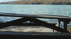 Picnic table on the water (3 of 9) Stock Footage