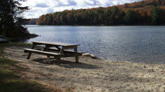 Picnic table on the water (5 of 9) Stock Footage