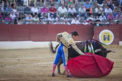 Bullfighter julian lopez el juli bullfighting with a crutch in a beautiful pass Stock Photos