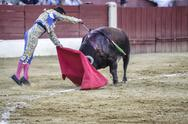 Stock Photo of bullfighter julian lopez el juli stabbing the bull with the sword