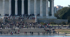 People on stairs of Lincoln Memorial 4k Stock Footage