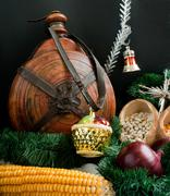 Christmas decoration with snowflakes, keg, garland, onion, corn Stock Photos