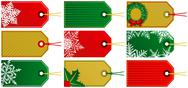 Stock Illustration of Nine christmas tags