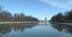 Washington Monument seen in reflection pool 4k Stock Footage