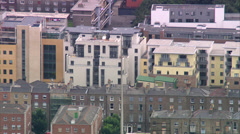 Aerial shot of Dublin Spire with city buildings in the background Stock Footage