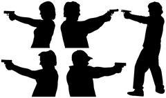 Gun shooting silhouettes Stock Illustration
