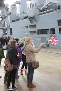 HMS Illustrious returns from the philippines Stock Photos