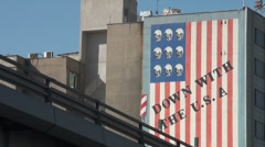 Tehran building reads 'Down with the USA', anti American sentiment Stock Footage