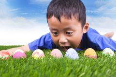 easter egg hunt - stock photo