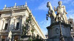 Campidoglio statue next to Christmas tree, Rome Stock Footage