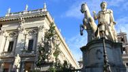 Stock Video Footage of Campidoglio statue next to Christmas tree, Rome