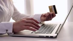 Business woman buying online. Dolly. Stock Footage