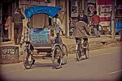 Stock Photo of a cycle rickshaw. dibrugarh assam, india