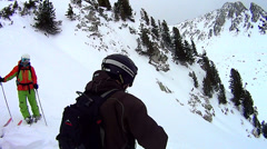 Off piste skiing Stock Footage