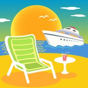 sea beach and yacht - stock illustration