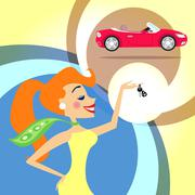 woman with car keys - stock illustration