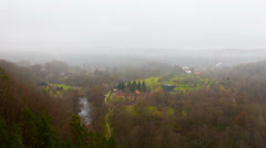 Autumn misty landscape, timelapse panorama Stock Footage