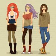 modern girls - stock illustration