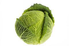 Whole savoy cabbage Stock Photos