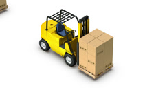 High angle up from single Forklift with Box revealing many Stock Footage