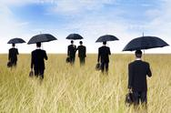 Stock Illustration of businessmen with umbrella outdoor