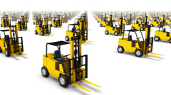 Sweeping across endless Forklifts side Stock Footage