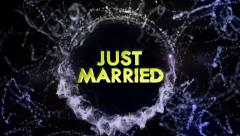 Stock Video Footage of JUST MARRIED 3D Gold Text in Particles