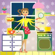 Kitchen woman cuisine Stock Illustration