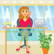 Woman in office Stock Illustration