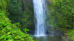 majestic lush tropical jungle waterfall in hawaii - stock footage