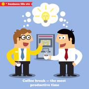 coffee break collaboration - stock illustration