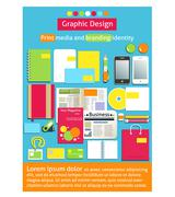 Graphic design, print media and branding identity Stock Illustration