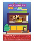 interior and exterior design poster template - stock illustration