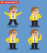 office emotions poses - stock illustration