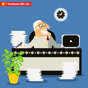 Stock Illustration of american boss at the desk